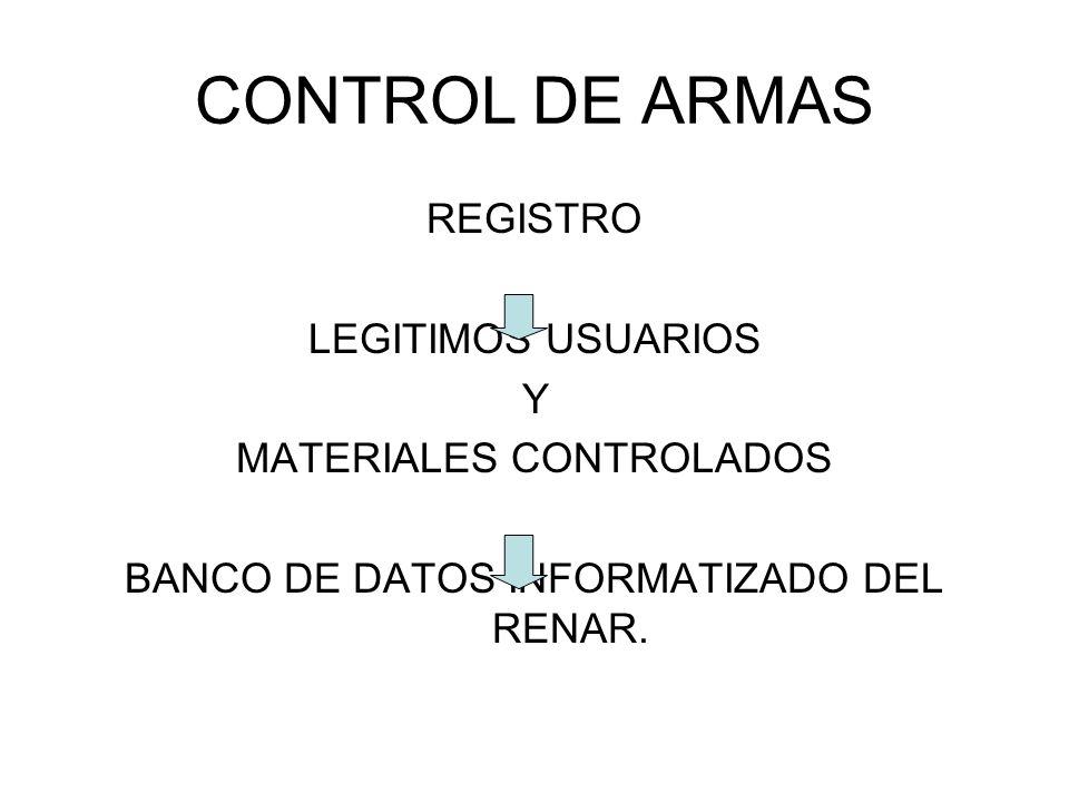 CONTROL DE ARMAS REGISTRO LEGITIMOS USUARIOS Y MATERIALES CONTROLADOS