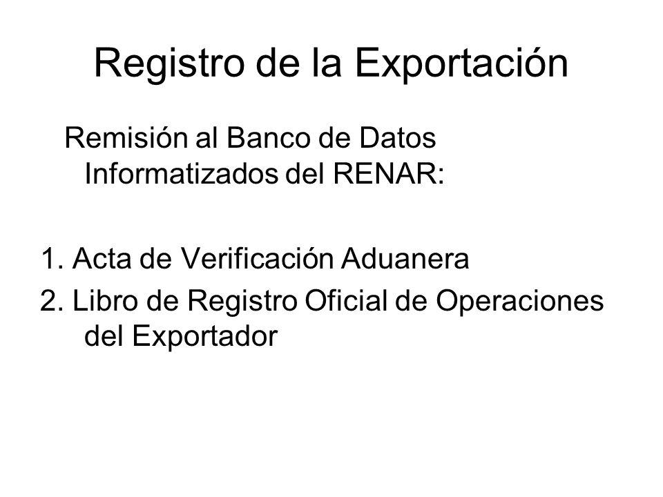 Registro de la Exportación