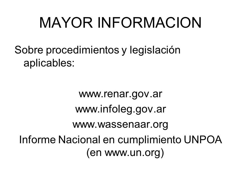 Informe Nacional en cumplimiento UNPOA (en www.un.org)