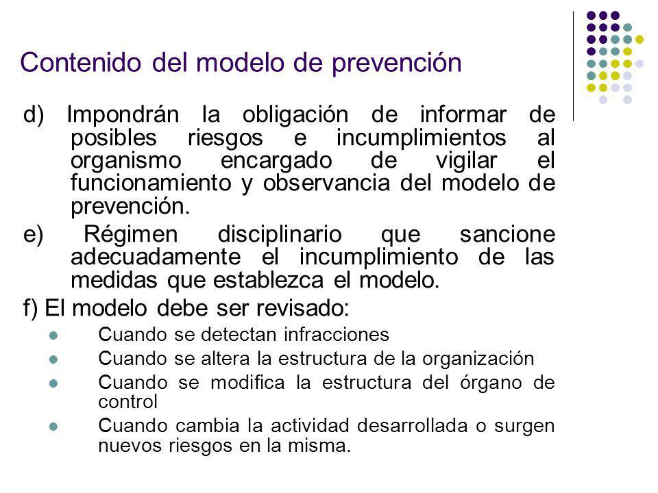 Contenido del modelo de prevención