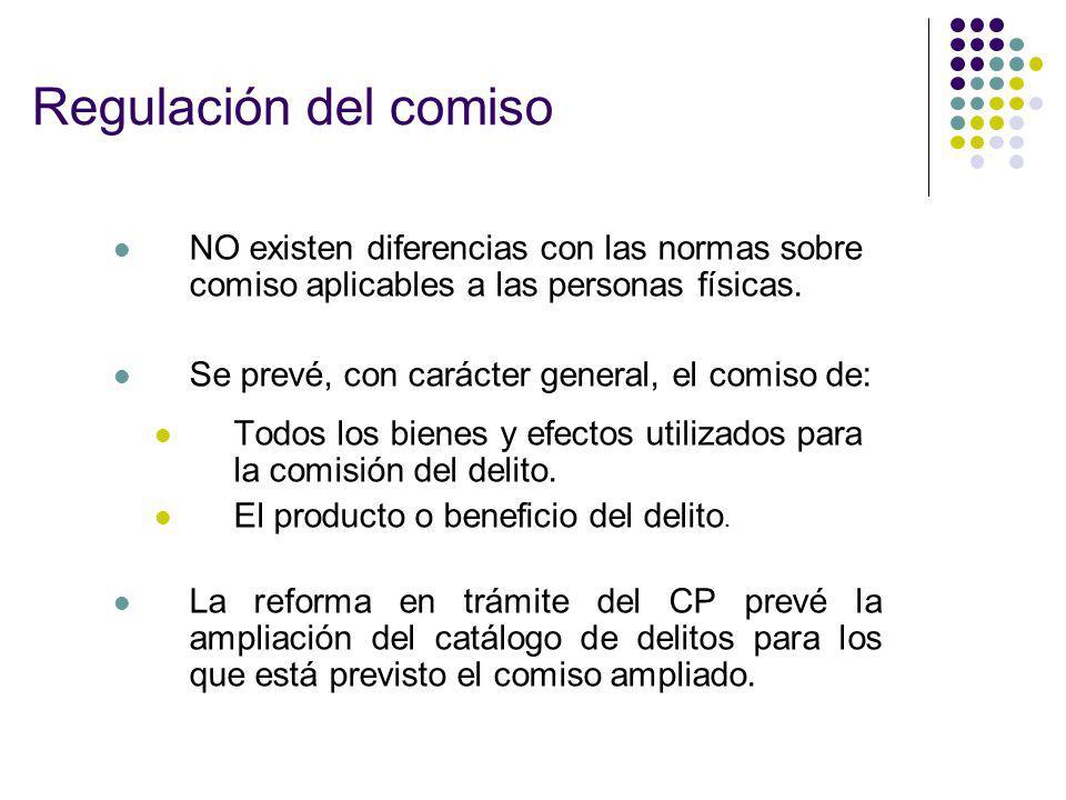 Regulación del comiso NO existen diferencias con las normas sobre comiso aplicables a las personas físicas.