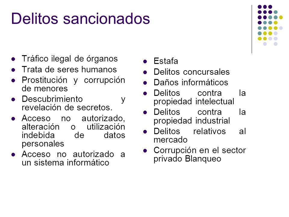 Delitos sancionados Tráfico ilegal de órganos Estafa