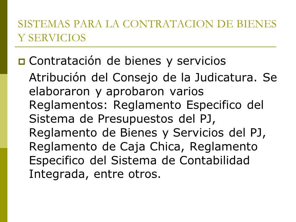 SISTEMAS PARA LA CONTRATACION DE BIENES Y SERVICIOS