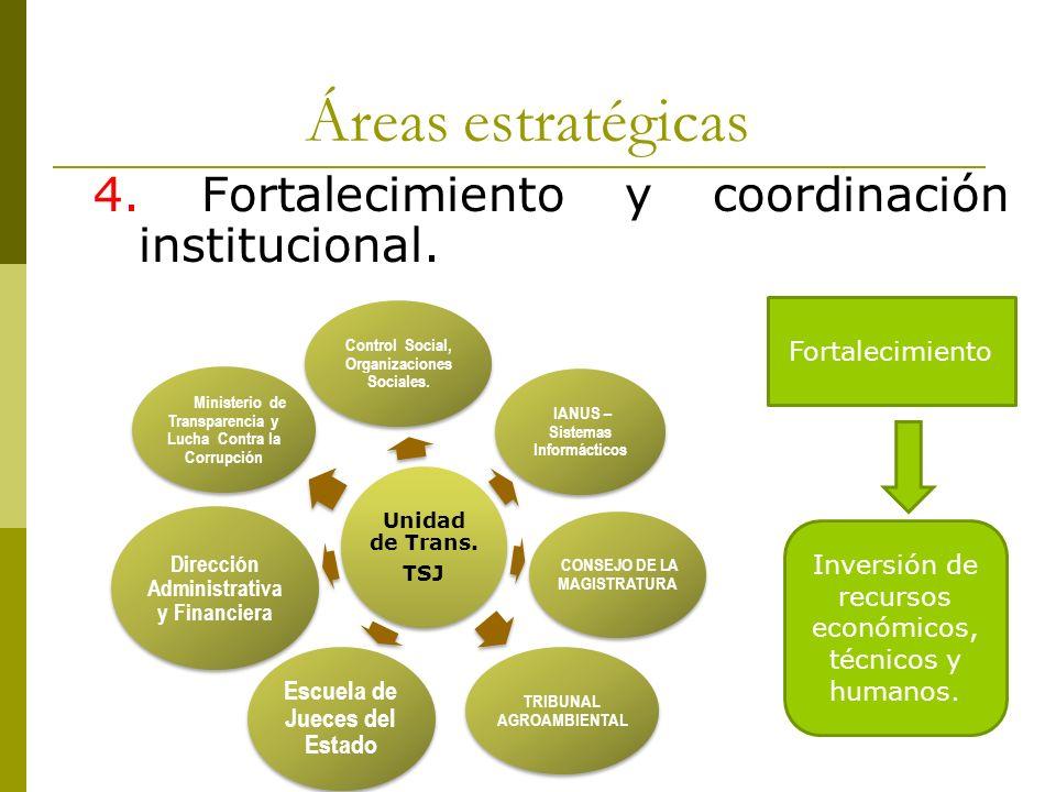 Áreas estratégicas 4. Fortalecimiento y coordinación institucional.