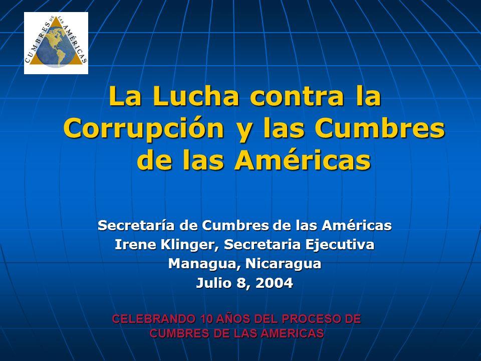 La Lucha contra la Corrupción y las Cumbres de las Américas