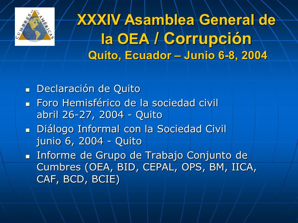 XXXIV Asamblea General de la OEA / Corrupción Quito, Ecuador – Junio 6-8, 2004