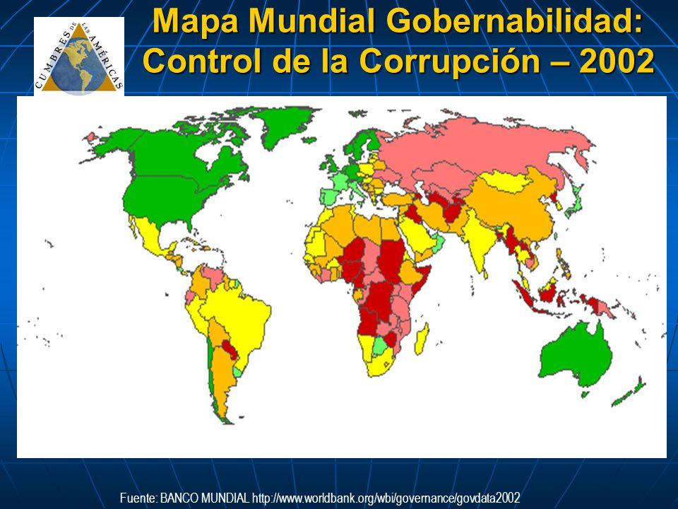 Mapa Mundial Gobernabilidad: Control de la Corrupción – 2002