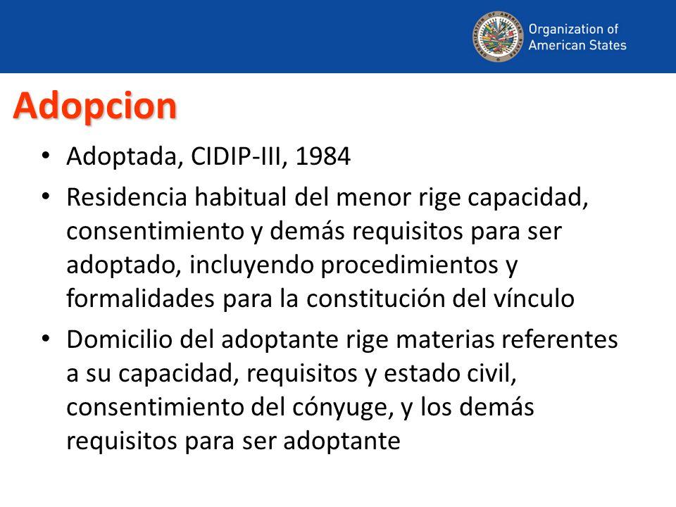 Adopcion Adoptada, CIDIP-III, 1984