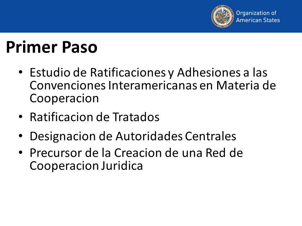 Primer PasoEstudio de Ratificaciones y Adhesiones a las Convenciones Interamericanas en Materia de Cooperacion.