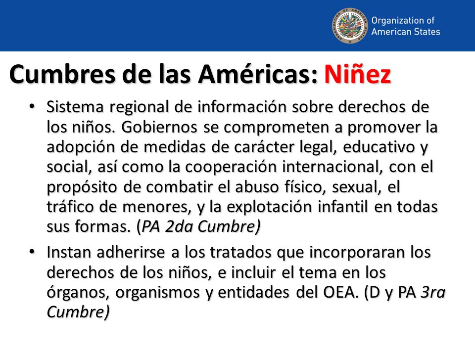Cumbres de las Américas: Niñez