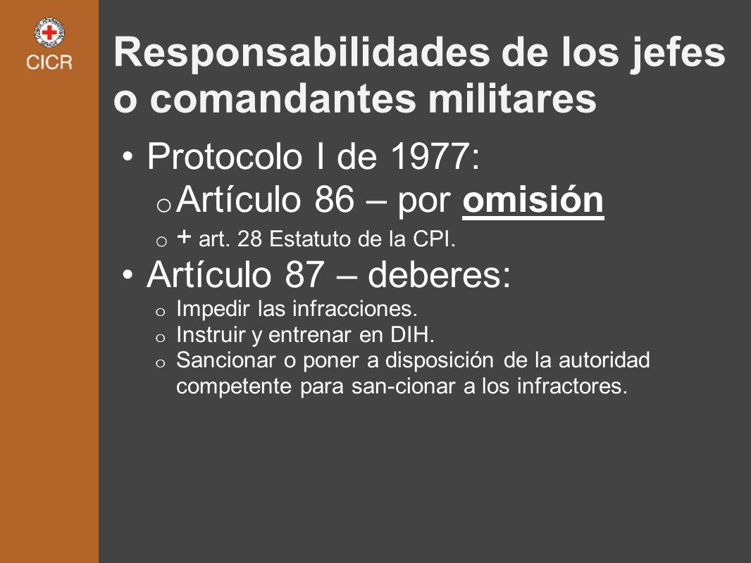 Responsabilidades de los jefes o comandantes militares