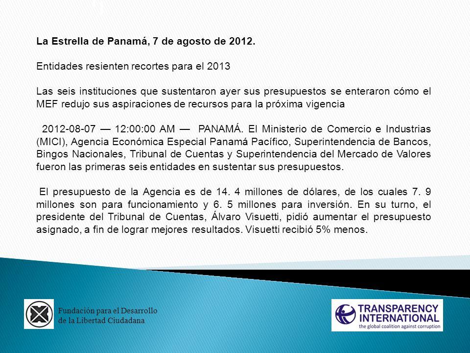 La Estrella de Panamá, 7 de agosto de 2012.