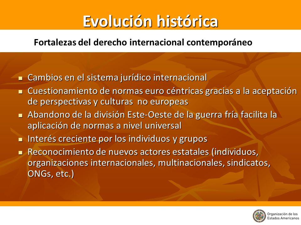 Evolución histórica Fortalezas del derecho internacional contemporáneo