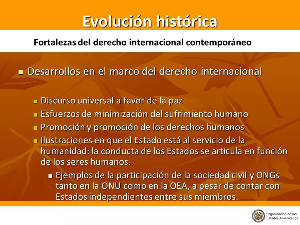 Evolución histórica Desarrollos en el marco del derecho internacional
