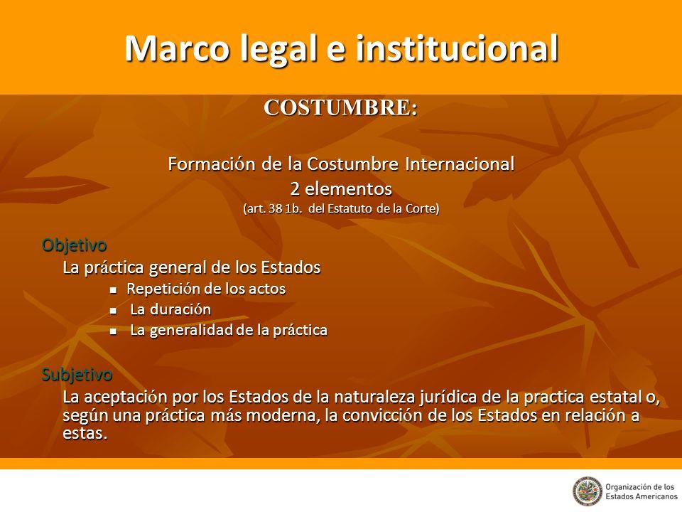 Marco legal e institucional