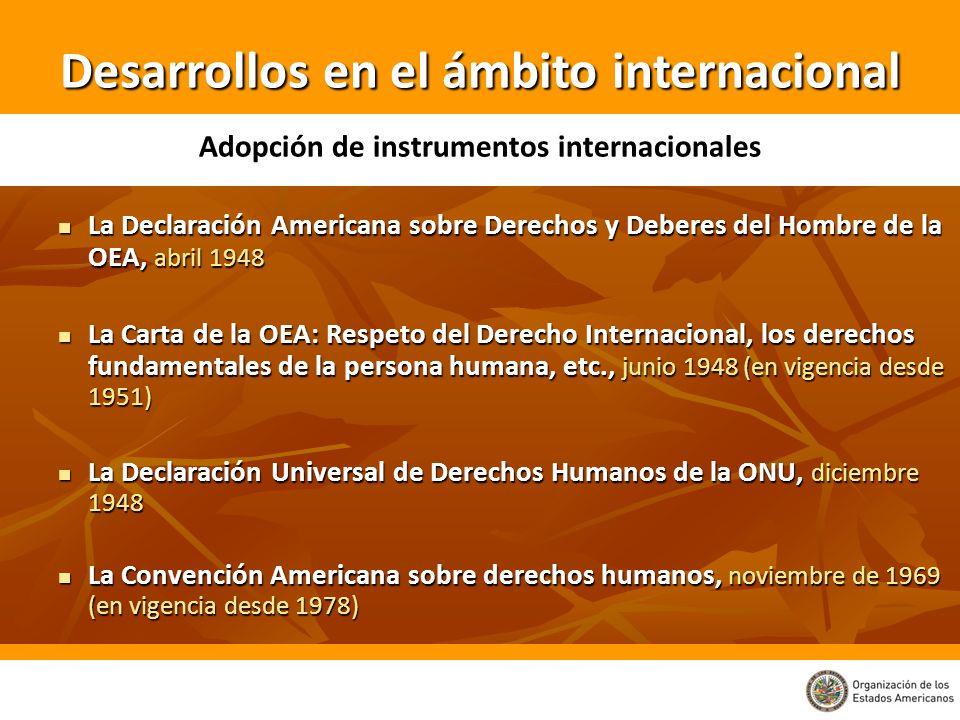 Desarrollos en el ámbito internacional