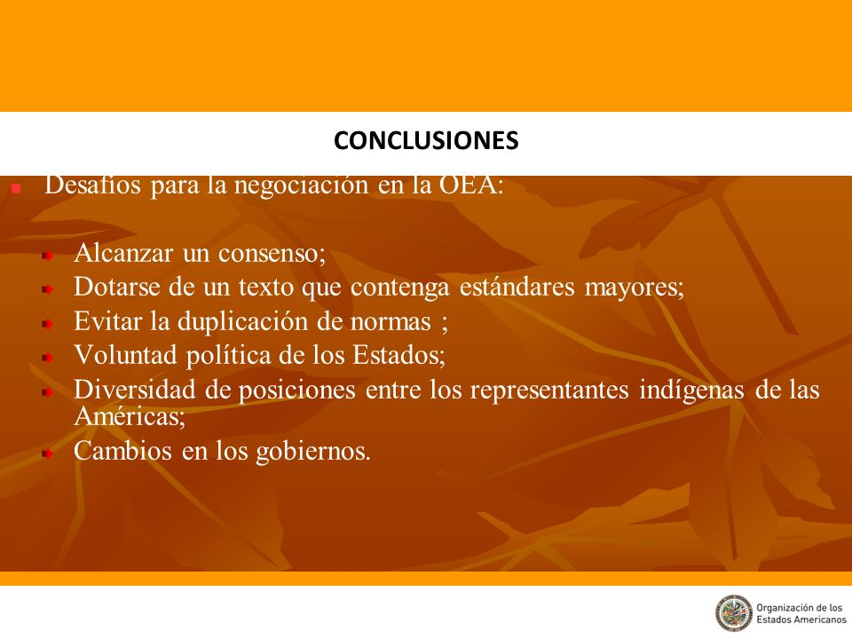 Desafíos para la negociación en la OEA: Alcanzar un consenso;