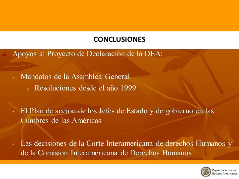 Apoyos al Proyecto de Declaración de la OEA: