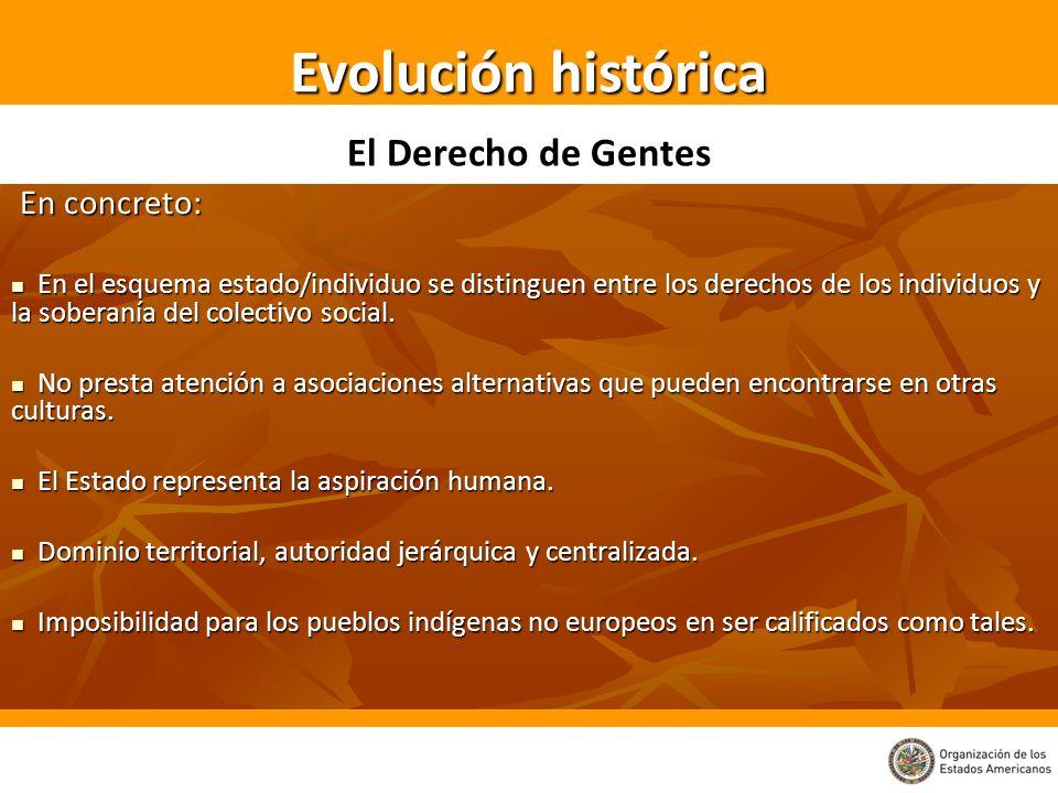 Evolución histórica El Derecho de Gentes En concreto: