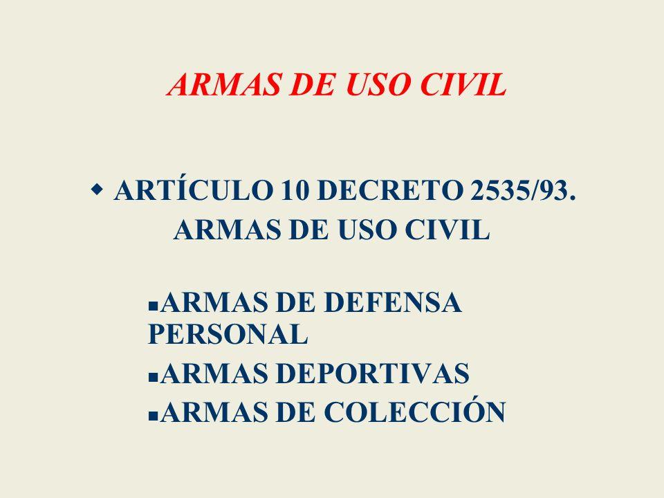 ARMAS DE USO CIVIL ARTÍCULO 10 DECRETO 2535/93. ARMAS DE USO CIVIL