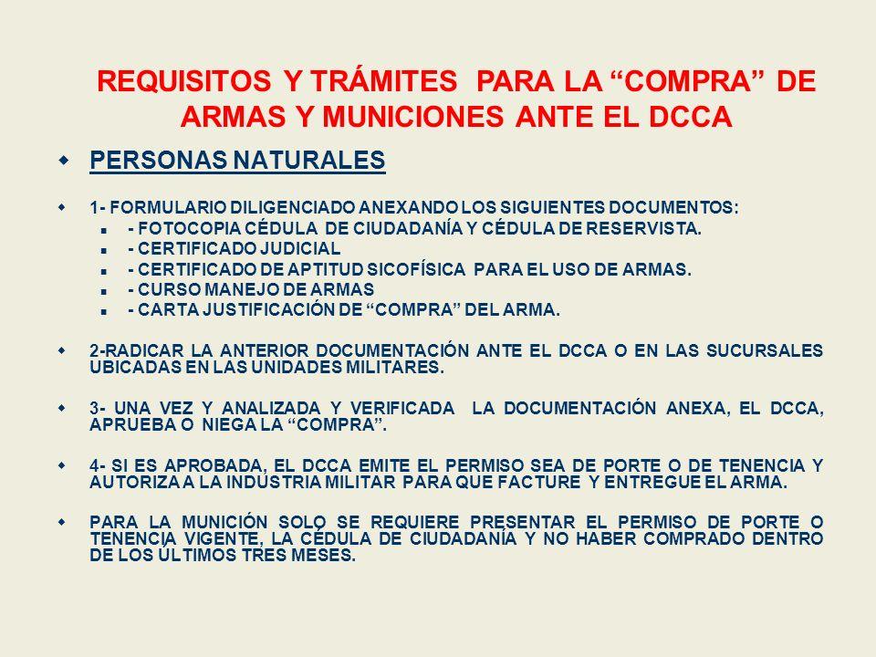 REQUISITOS Y TRÁMITES PARA LA COMPRA DE ARMAS Y MUNICIONES ANTE EL DCCA