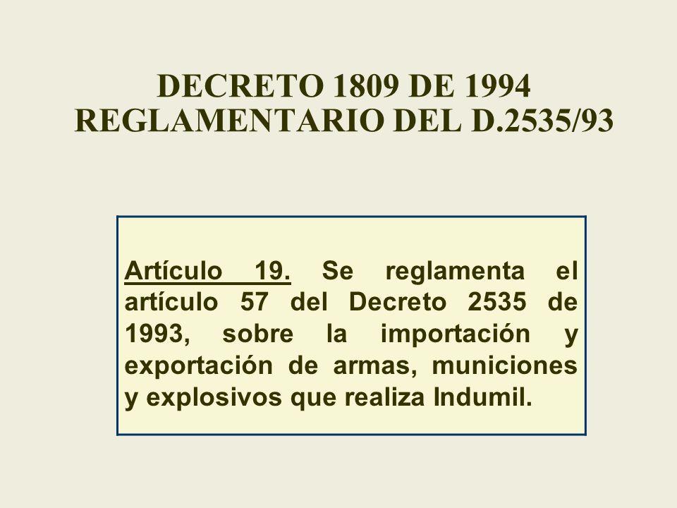 DECRETO 1809 DE 1994 REGLAMENTARIO DEL D.2535/93