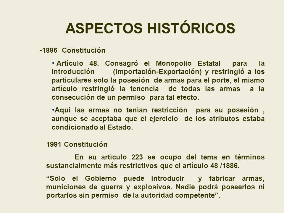ASPECTOS HISTÓRICOS -1886 Constitución