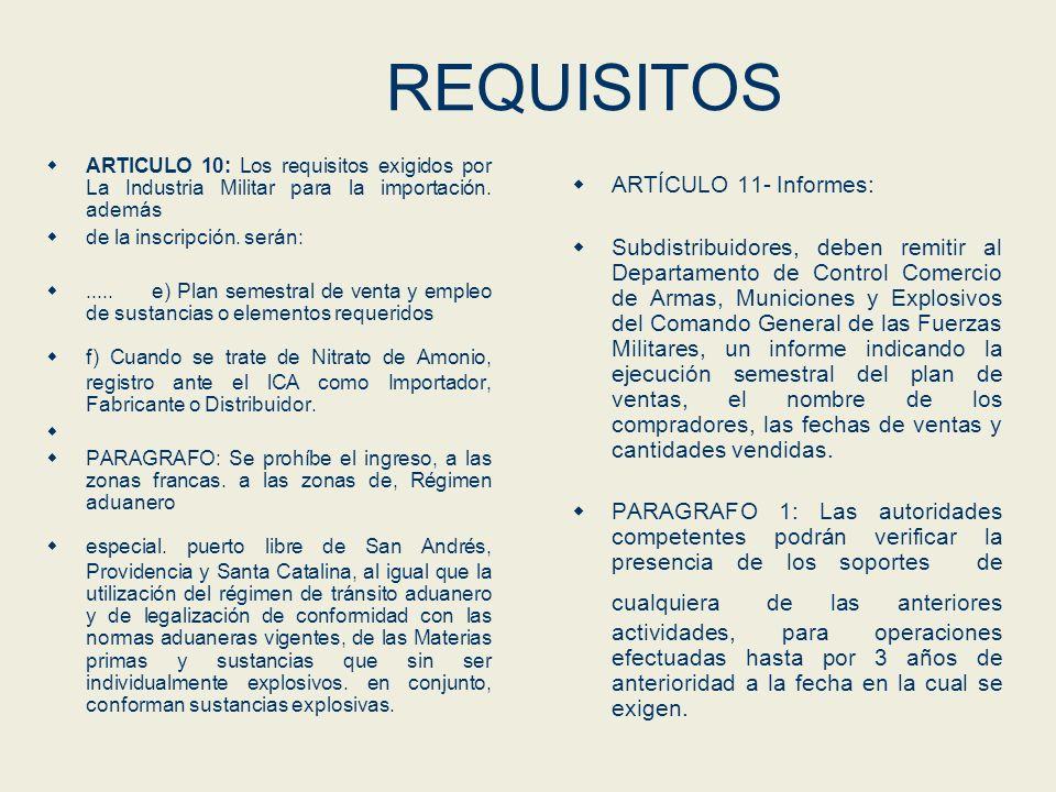 REQUISITOS ARTÍCULO 11- Informes: