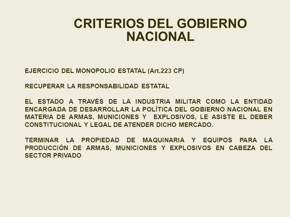 CRITERIOS DEL GOBIERNO NACIONAL