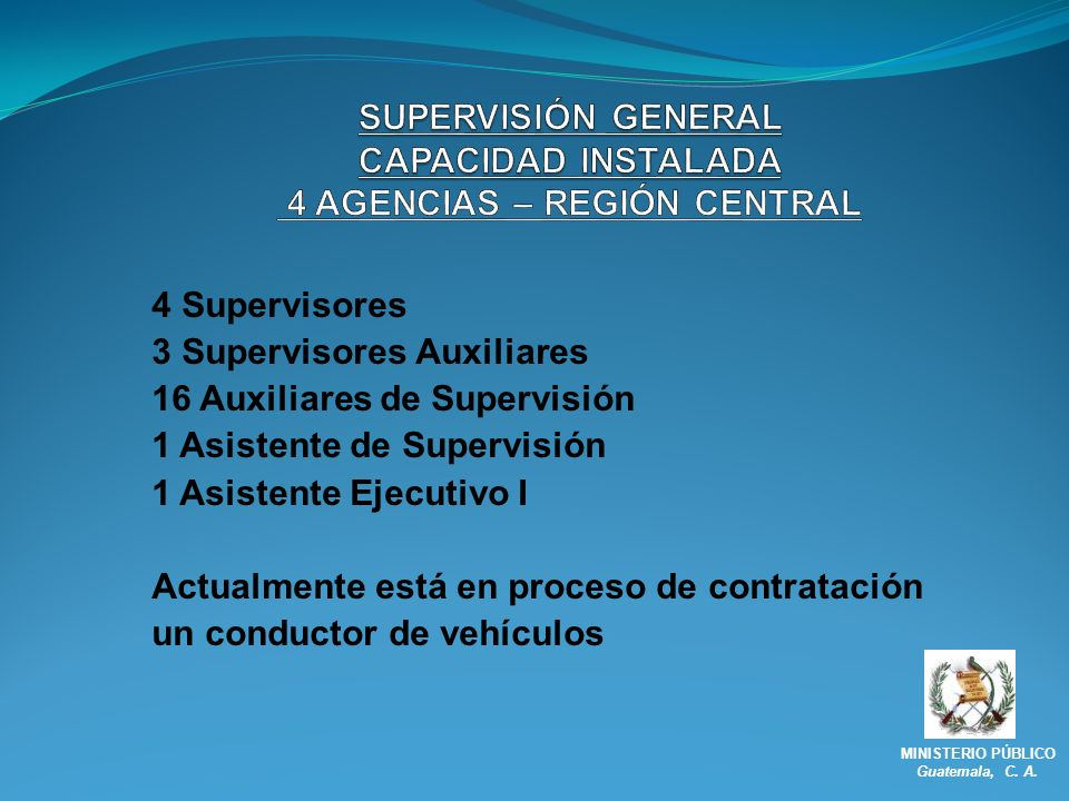SUPERVISIÓN GENERAL CAPACIDAD INSTALADA 4 AGENCIAS – REGIÓN CENTRAL