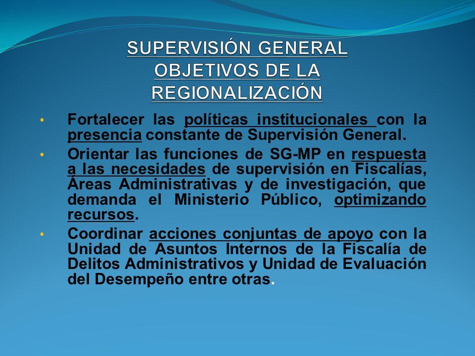SUPERVISIÓN GENERAL OBJETIVOS DE LA REGIONALIZACIÓN