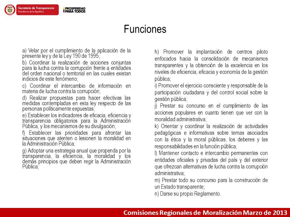 Funciones Comisiones Regionales de Moralización Marzo de 2013