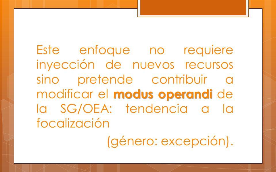 Este enfoque no requiere inyección de nuevos recursos sino pretende contribuir a modificar el modus operandi de la SG/OEA: tendencia a la focalización