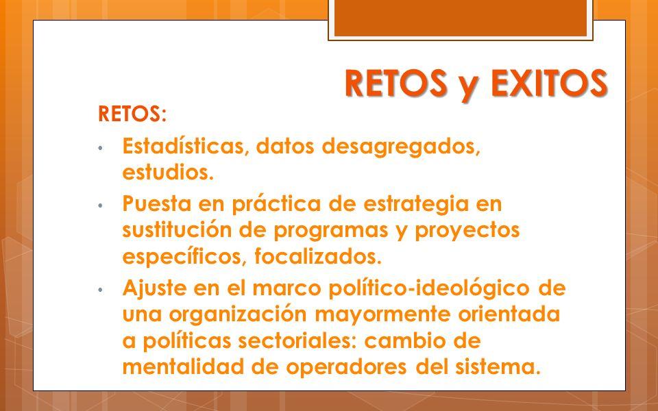 RETOS y EXITOS RETOS: Estadísticas, datos desagregados, estudios.