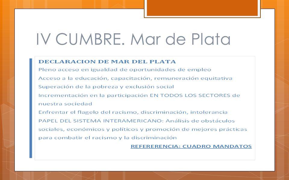 IV CUMBRE. Mar de Plata