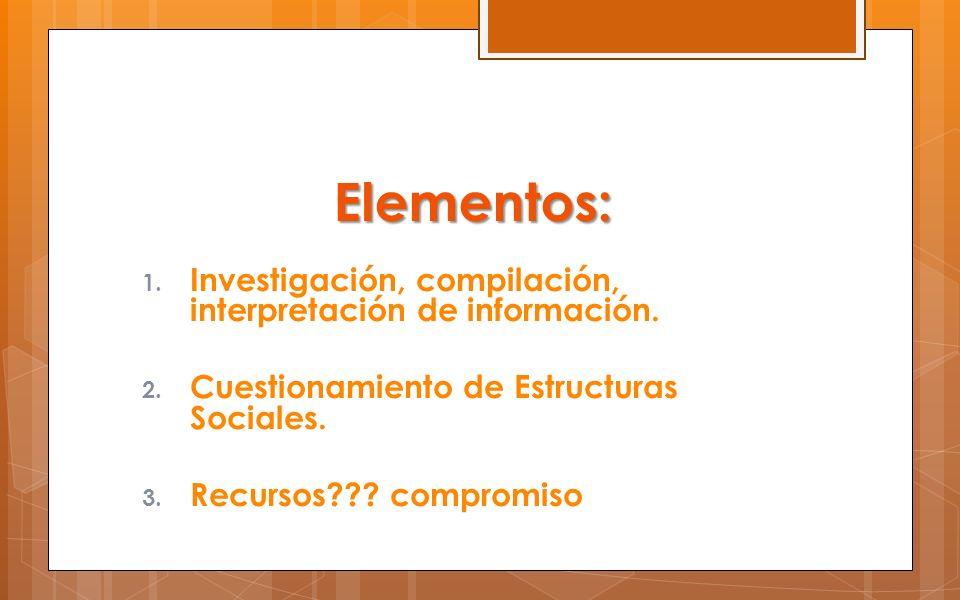Elementos: Investigación, compilación, interpretación de información.