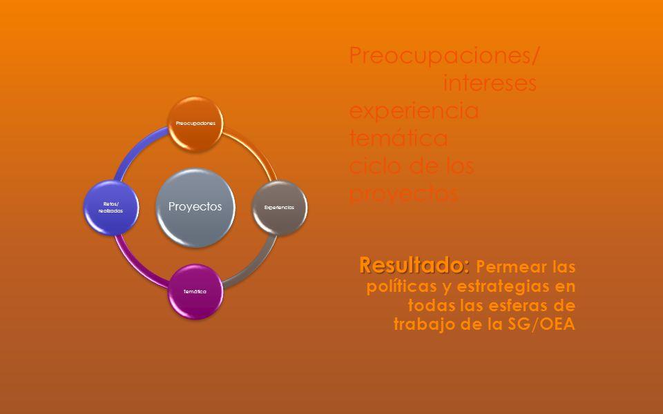 Preocupaciones/ intereses experiencia temática ciclo de los proyectos