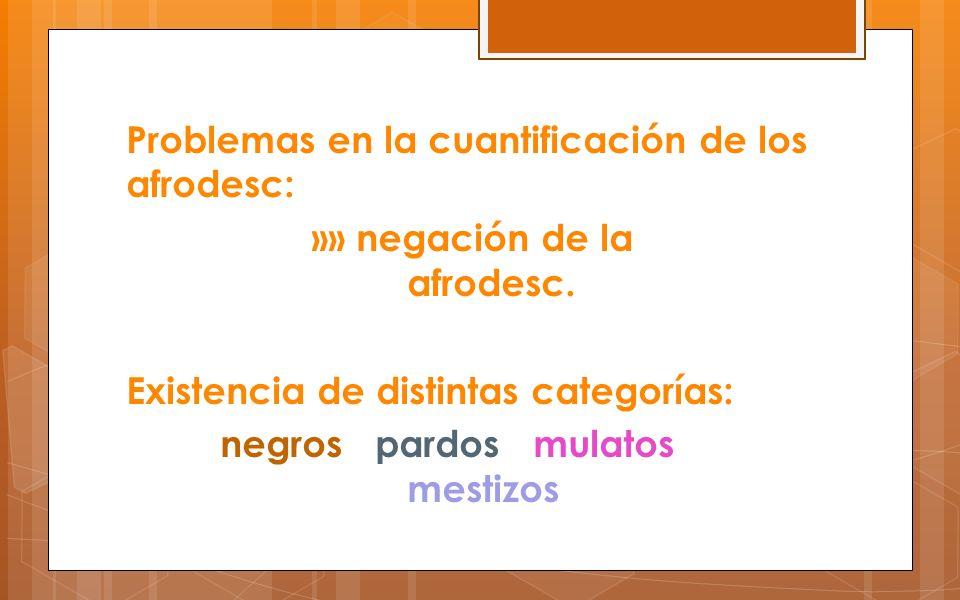 Problemas en la cuantificación de los afrodesc: »» negación de la afrodesc.
