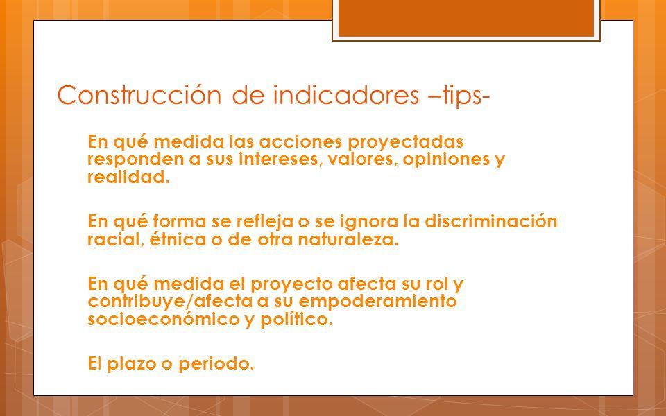 Construcción de indicadores –tips-