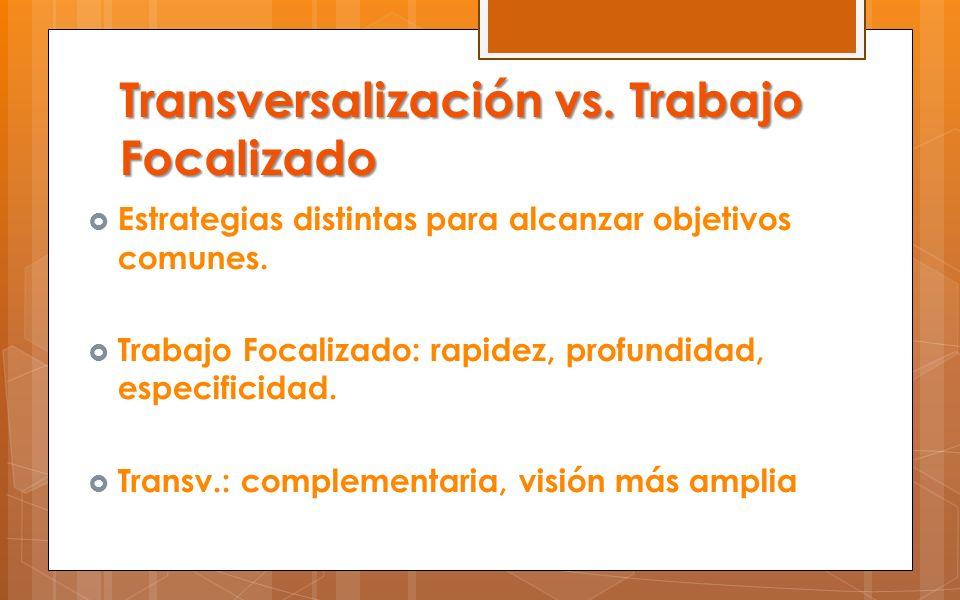 Transversalización vs. Trabajo Focalizado