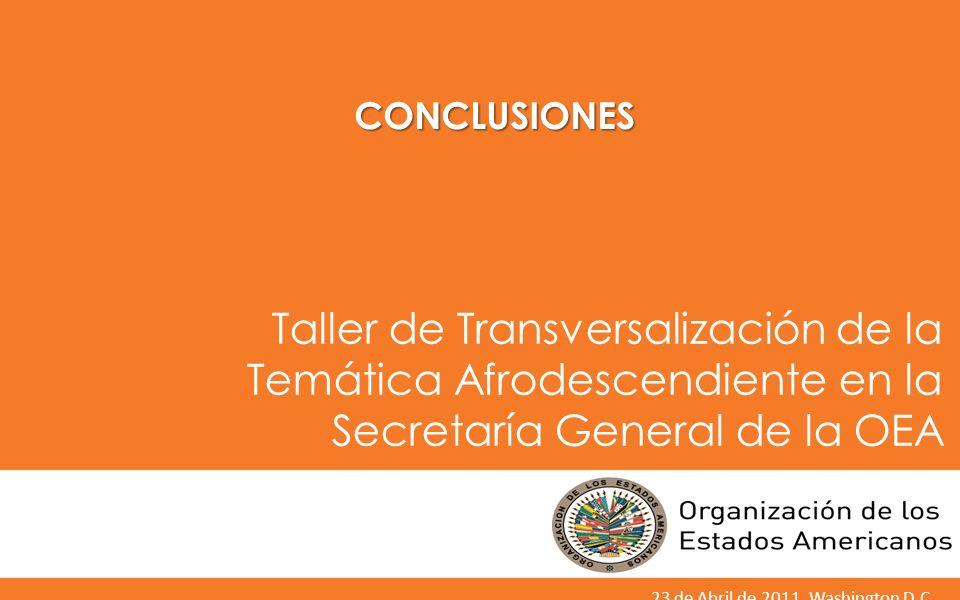 CONCLUSIONES Taller de Transversalización de la Temática Afrodescendiente en la Secretaría General de la OEA.