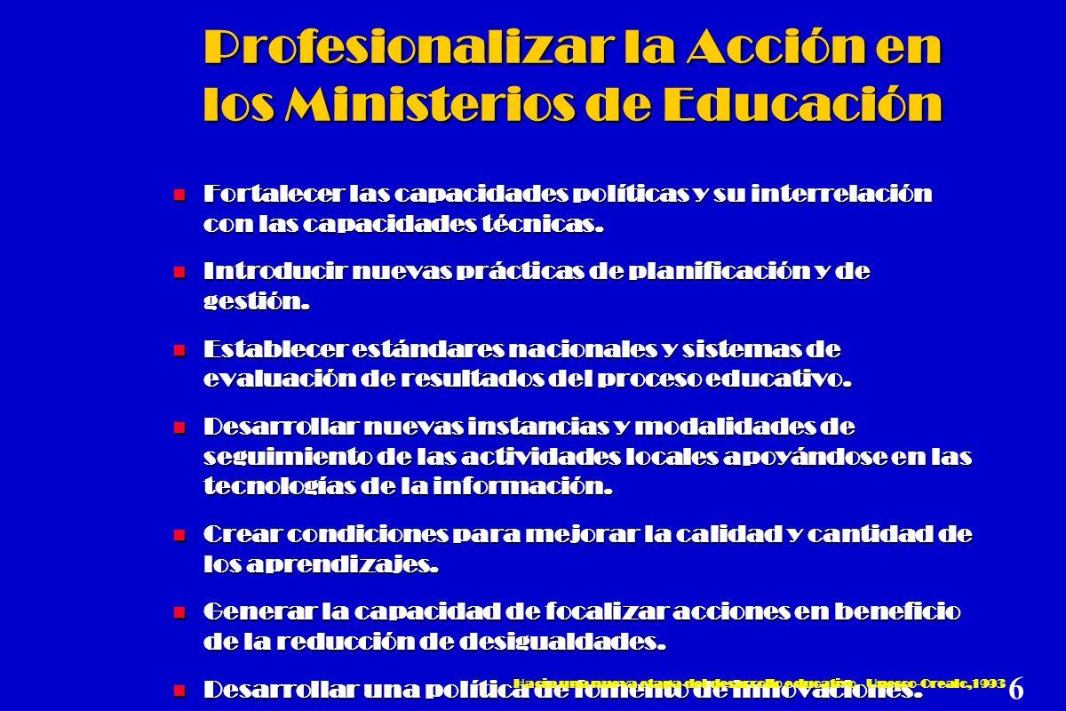 Profesionalizar la Acción en los Ministerios de Educación