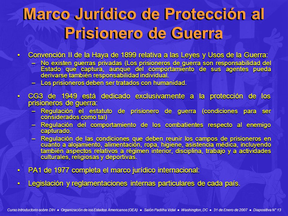 Marco Jurídico de Protección al Prisionero de Guerra