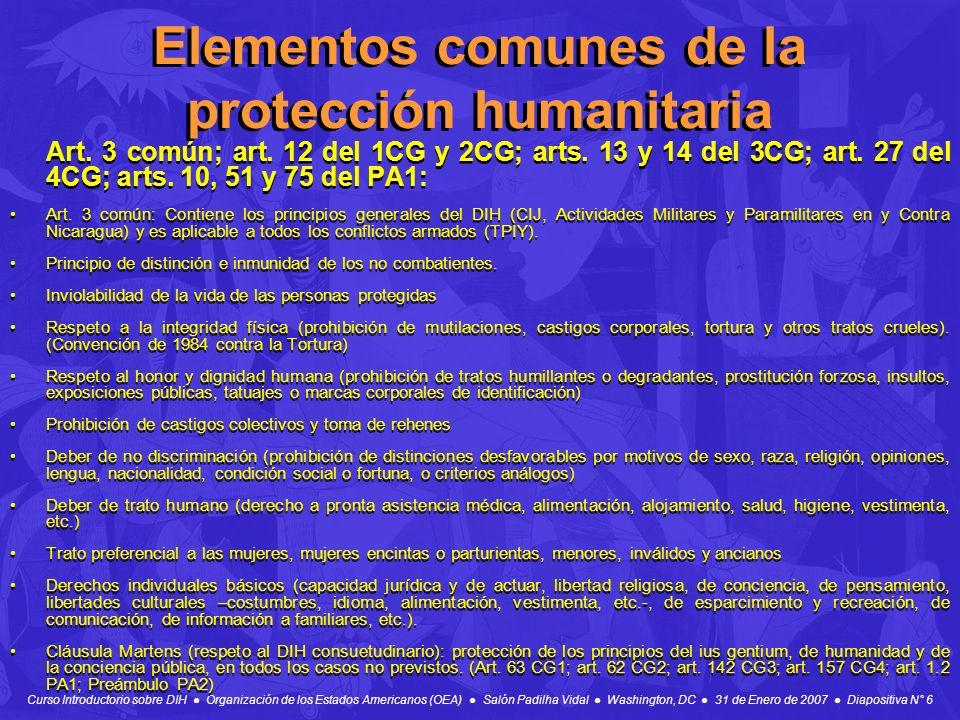 Elementos comunes de la protección humanitaria