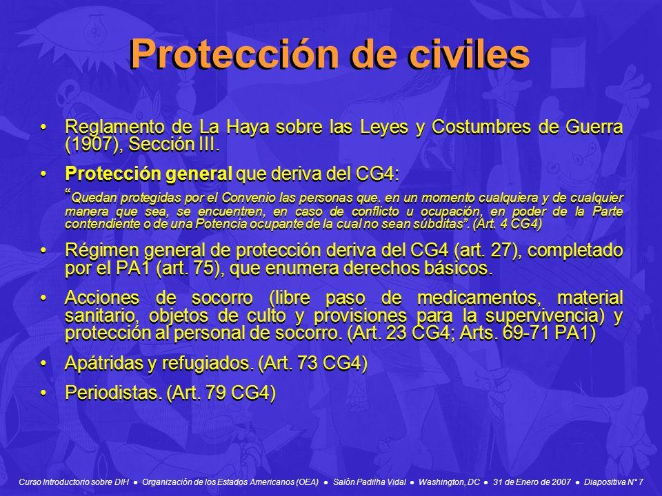 Protección de civiles Reglamento de La Haya sobre las Leyes y Costumbres de Guerra (1907), Sección III.