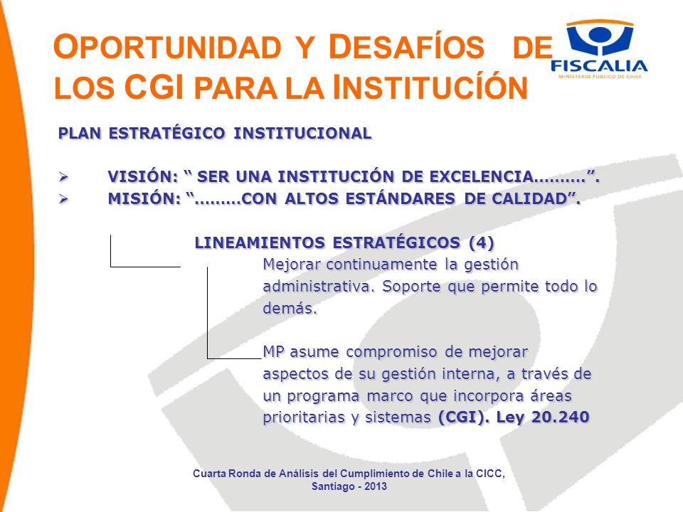 OPORTUNIDAD Y DESAFÍOS DE LOS CGI PARA LA INSTITUCÍÓN