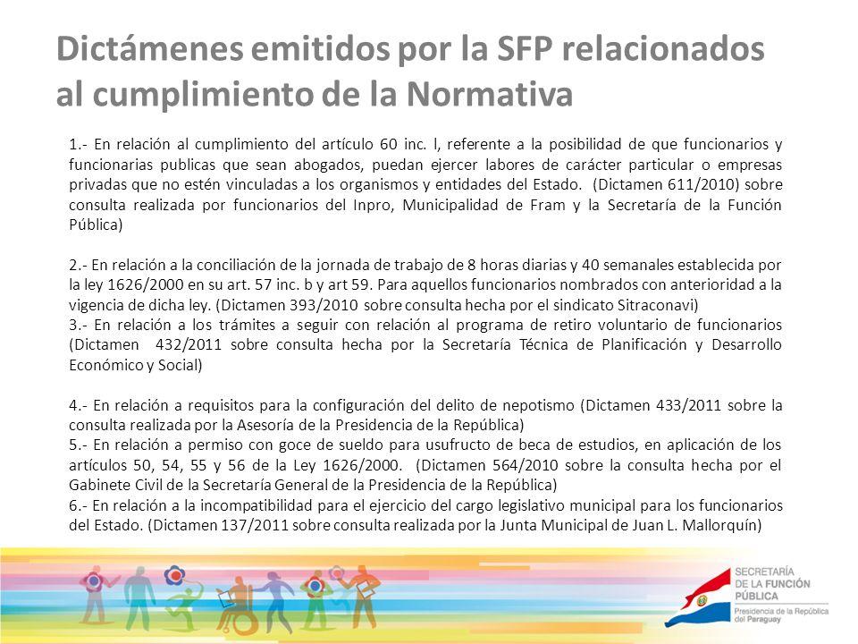 Dictámenes emitidos por la SFP relacionados al cumplimiento de la Normativa