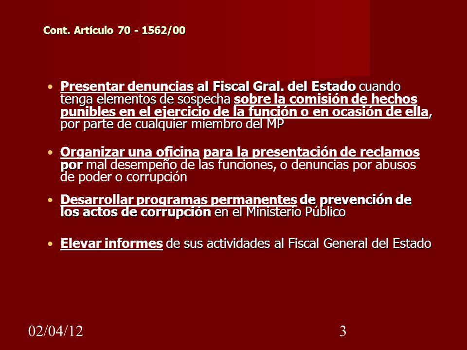 Cont. Artículo 70 - 1562/00