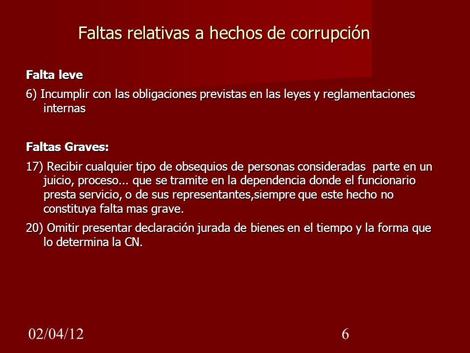 Faltas relativas a hechos de corrupción