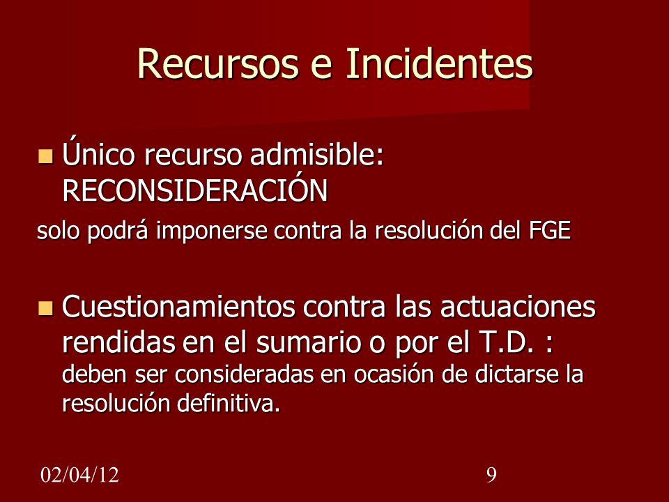 Recursos e Incidentes Único recurso admisible: RECONSIDERACIÓN